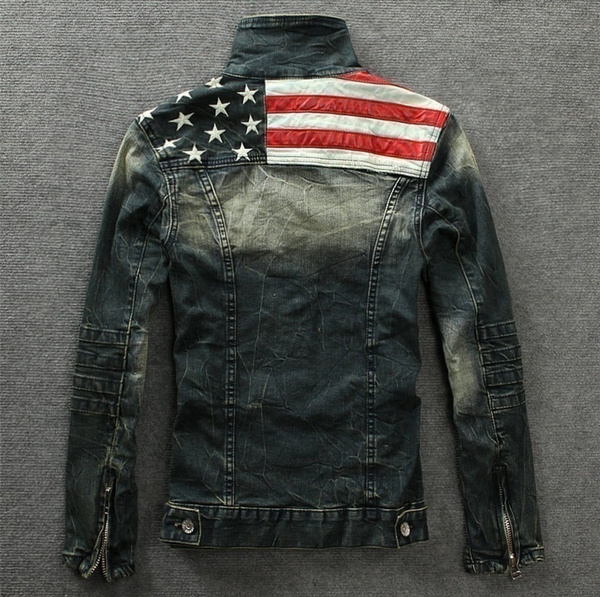 $137 $54 - Wish New Arrival American Flag Denim Jacket For Men Fashion