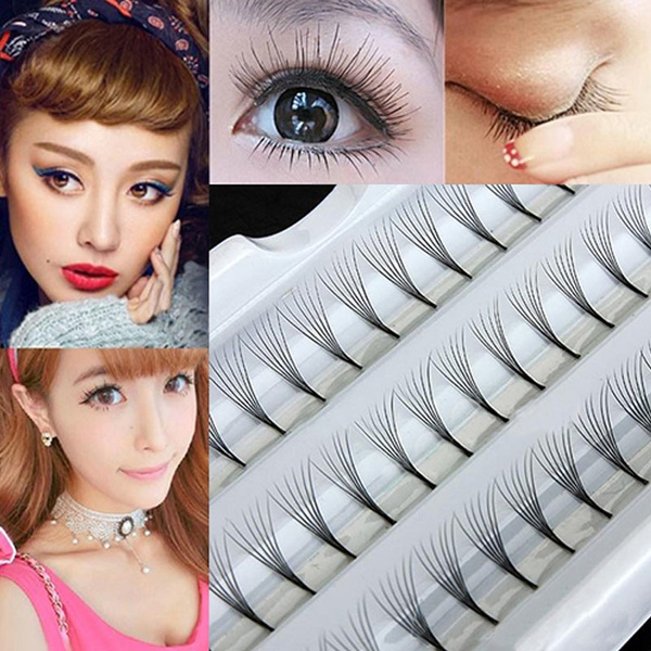 Picture of Makeup Women 60 Pcs Individual Black False Eyelash Cluster Eye Lashes Extension Tray