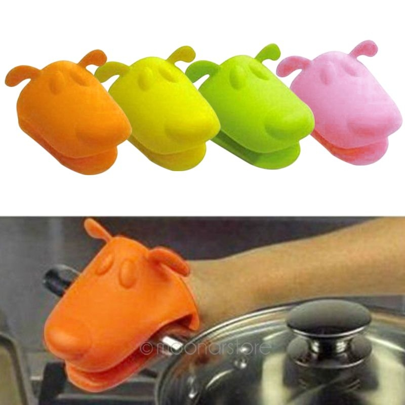Picture of Heat-resistant Kitchen Oven Holder Bbq Baking Mitt Glove Tool Silicone Doggie