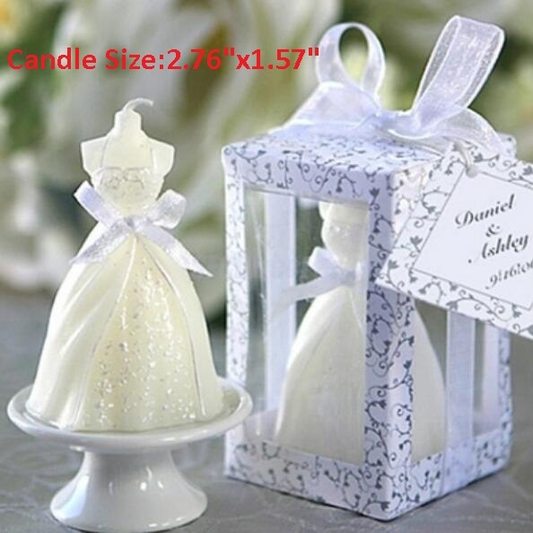 Picture of Lovely Boxed White Bridal Bride Shape Candle Wedding Party Favors Bridal Decor Size 2.76 1.57 Color White