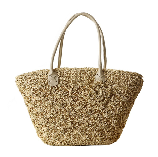 39ef19b59a63 Tonwhar Paper String Crochet Straw Woven Bag Shoulder Tote Beach Bag