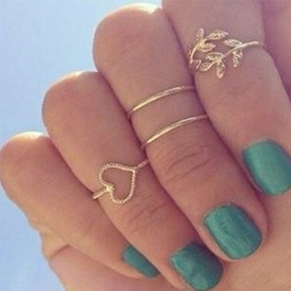 Fashion Gold /Silver Plated Leaf Heart Joint Knuckle Nail Ring Set of Four Rings