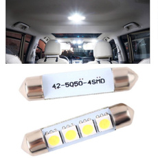 2 PCS 42MM 4 SMD 5050 2W Car Interior Dome Festoon LED Light Bulbs Lamp White 12V