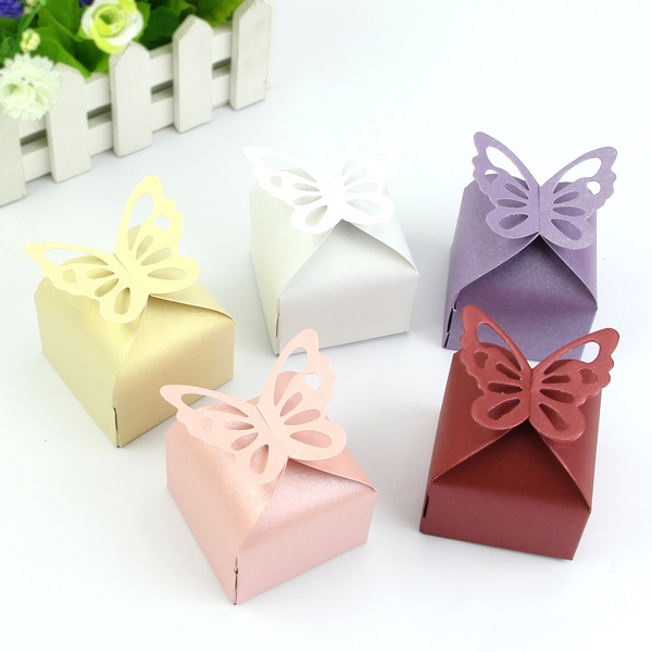 Picture of 50 Pcs Butterfly Favor Gift Candy Boxes Cake Style For Wedding Party
