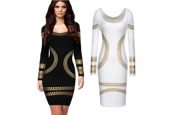 Newest top fashion women o neck long sleeve bronzing appliques