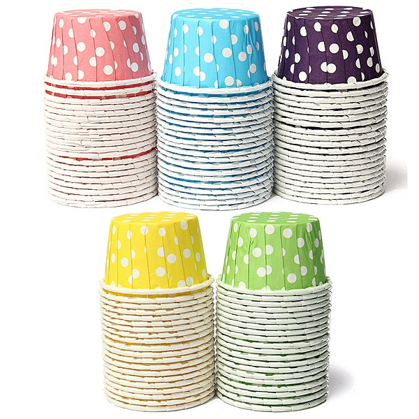Picture of 20pcs Paper Cake Cup Liners Baking Cupcake Cases Muffin Cake Colorful Wave Point