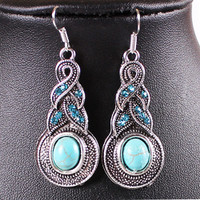 whome | Women Fashion Jewelry Classic Tibet Silver Dangle Earrings With Turquoise Decoration