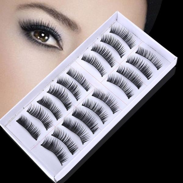 Picture of 10 Pairs Long Cross False Eyelashes Makeup Natural Fake Thick Black Eye Lashes