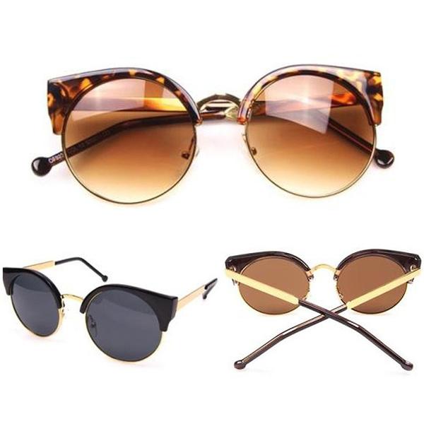 Picture of Half Frame Round Cat Eye Designer Retro Ladies Women Men Sunglasses
