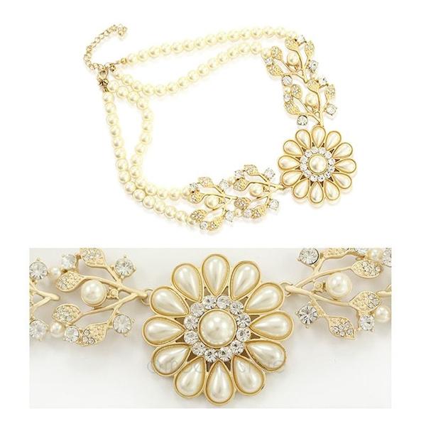 Korea New Fashion Elegant Pearl Crystal Pearl Flower Bib Choker Necklace