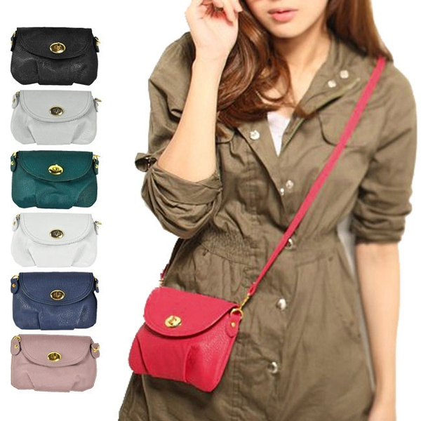 Picture of Women Faux Leather Small Messenger Buckle Crossbody Shoulder Bags Handbag Purse
