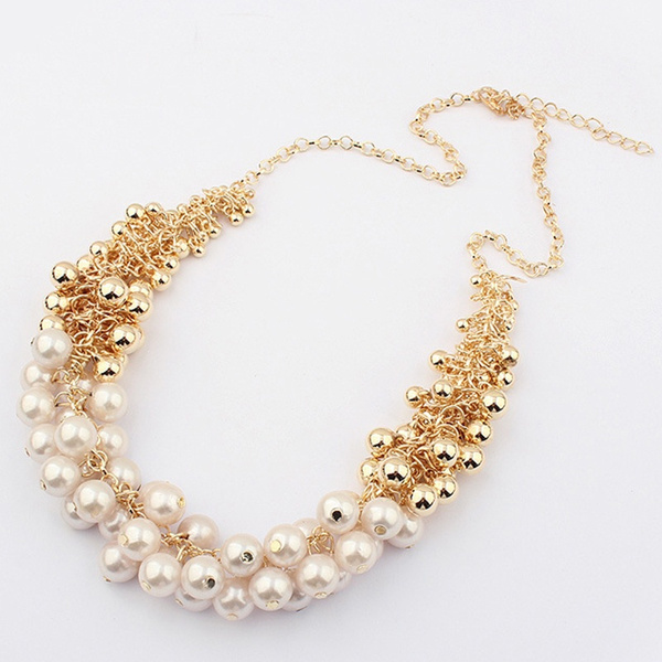 Picture of Fashion Multilayer Golden Pearl Choker Collar Bib Statement Necklace For Women