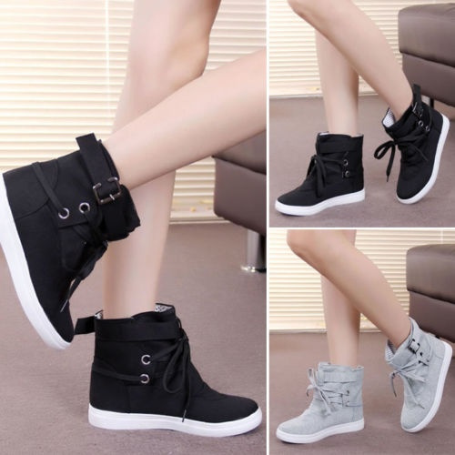 Picture of Fashion Women Lady Lace Up Sneakers Buckle Strap Hiking Flats Ankle Boots High Top Canvas Sports Flats Shoes Winter Autumn