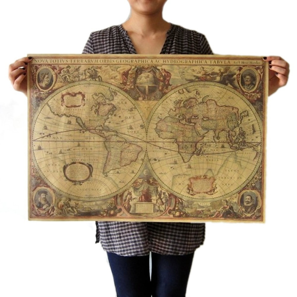 Picture of Vintage Globe Old World Map Matte Brown Paper Poster Home Wall Decor