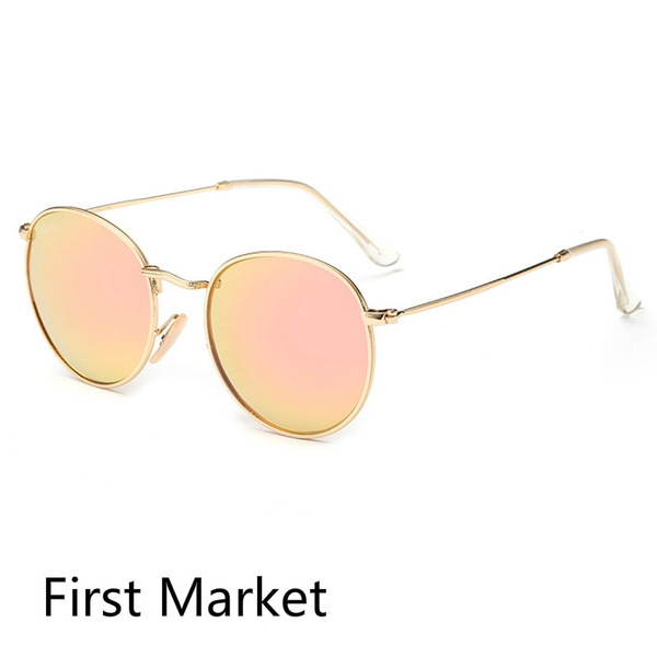 Picture of Round Brown Lens Vintage Retro Men Women Metal Frame Sunglasses Glasses Shades
