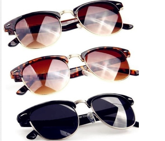 Picture of Classic Half Frame Cat Eye Clubmaster Wayfarers Metal Retro Geek Nerdy Sunglasses