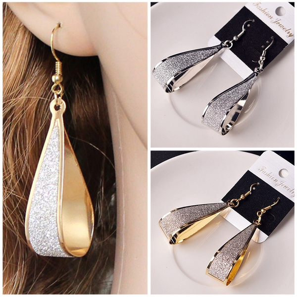 Picture of Retro Gold Silver Waterdrop Dangle Earring Frosted Eardrop For Lady