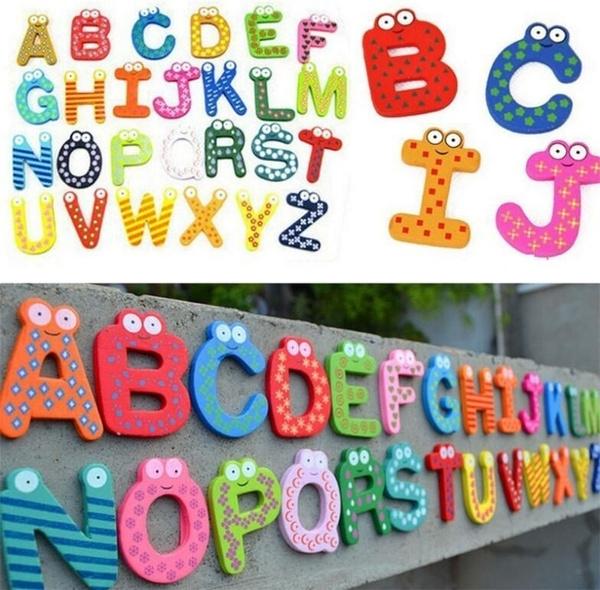 Fridge Wooden Magnets Baby Children Toy A-Z ABC Educational Alphabet 26 LettersM