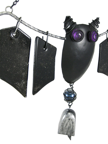 wish cool metal and glass bat windchimes halloween