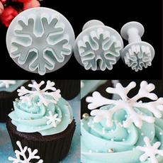 3pcs Snowflake Fondant Cake Decorating Sugarcraft Cutter Plunger Mold