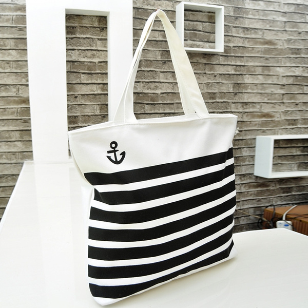 Picture of Women Casual Canvas Bag Portable Fashion Wear Shoulder School Book Mommas Big Bag Clutch Tote Bags Black White Bars