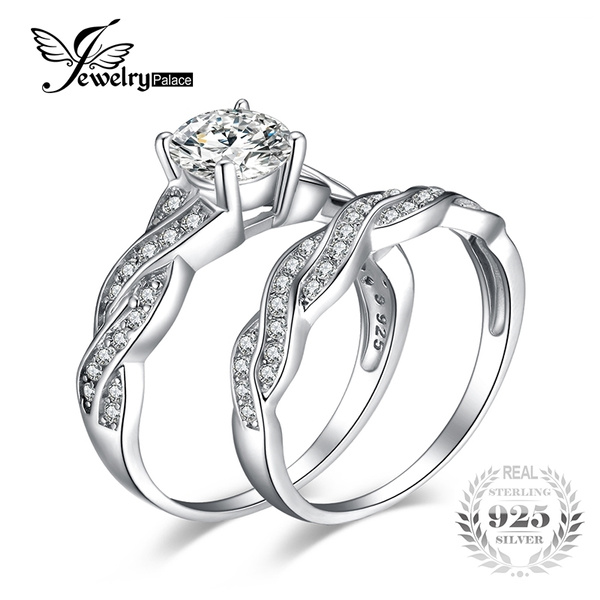 040a147b2 JewelryPalace 925 Sterling Silver Engagement Ring Wedding Band 1.5ct ...