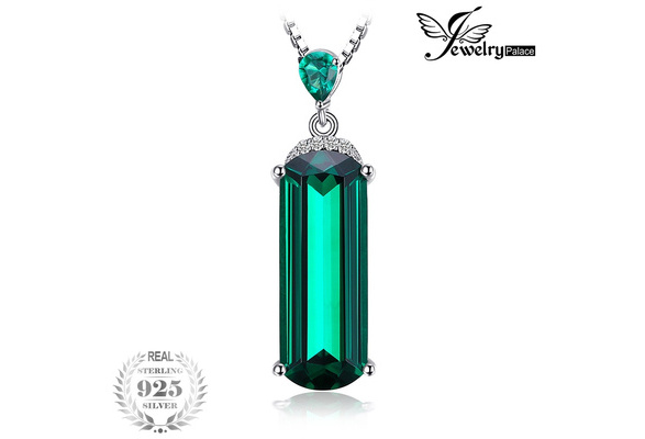 JewelryPalace Fancy Cut 4.4ct Created Green Russian Nano Emerald 925 Sterling Silver Pendant