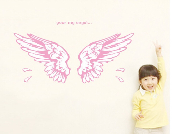 Wish | Cute Removable Pink Angel Wings Wall Decor Stickers DIY Home ...