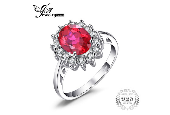 JewelryPalace Princess Diana William Kate Middleton's 3.2ct Created Ruby Engagement 925 Sterling Silver Ring