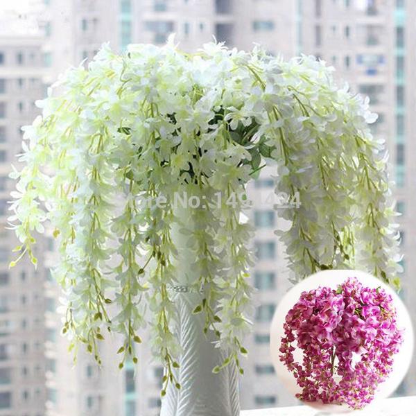 Picture of Classic Romantic Artificial Wisteria Silk Flower Home Party Wedding Garden Floral Decoration Color Purple