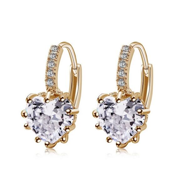 Cubic Zirconia, White Gold, Hoop Earring, Jewelry