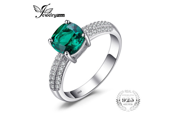 JewelryPalace Cushion 1.8ct Created Green Russian Nano Emerald Solitaire Engagement Ring 925 Sterling Silver
