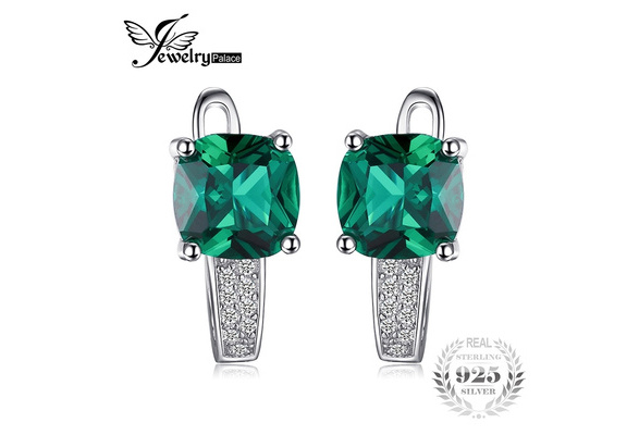 JewelryPalace Cushion 3.1ct Created Green Russian Nano Emerald Clip On Hoop Earrings 925 Sterling Silver