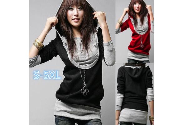 Fashion Slim Women Hoodie U Collar Cotton Sweatshirt Long Sleeve Tops
