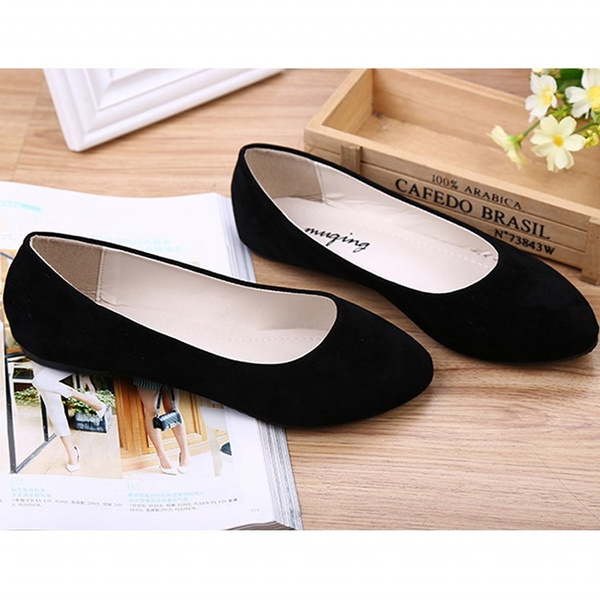 Picture of Women Patchwork Boat Shoes Fashion Closed Pointed Toe Heel Women's Classic Solid Black Flats