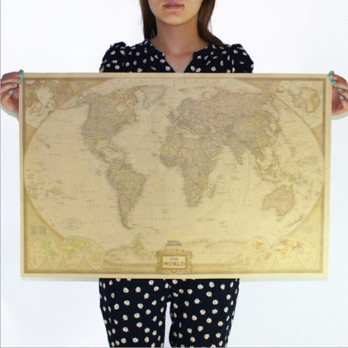 Picture of Vintage Retro Paper World Map Antique Poster Wall Chart Home Decoration 72.547.5cm