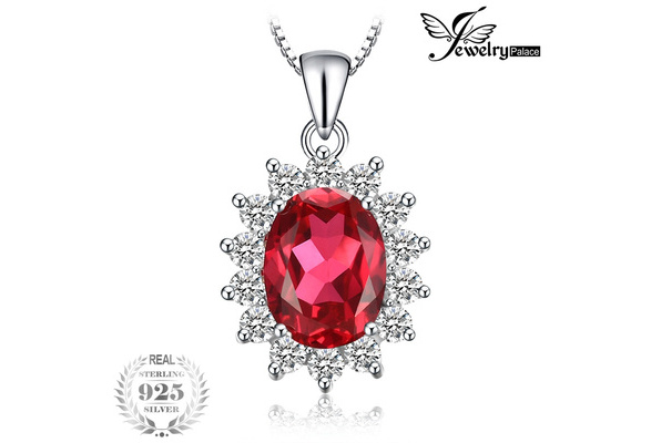 JewelryPalace Oval 3.2ct Princess Diana William Pendant Created Red Ruby Pendant 925 Sterling Silver