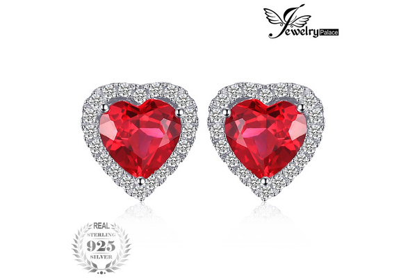 JewelryPalace Heart Of Ocean 3.8ct Created Red Ruby Love Forever Halo Stud Earrings 925 Sterling Silver