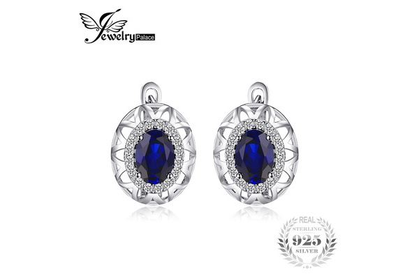JewelryPalace Unique Design 2.4ct Created Blue Sapphire Clip On Earrings 925 Sterling Silver