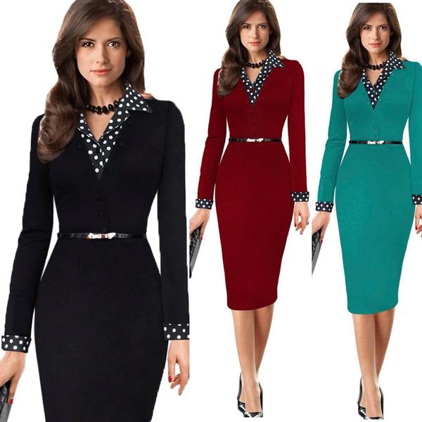 Dresses Elegant Midi Fashion Women Work