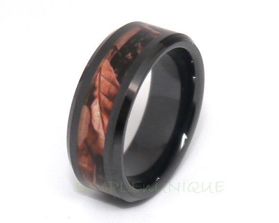 Wish Camo Wedding Rings Mens Wedding Band Wood Ceramic Wedding
