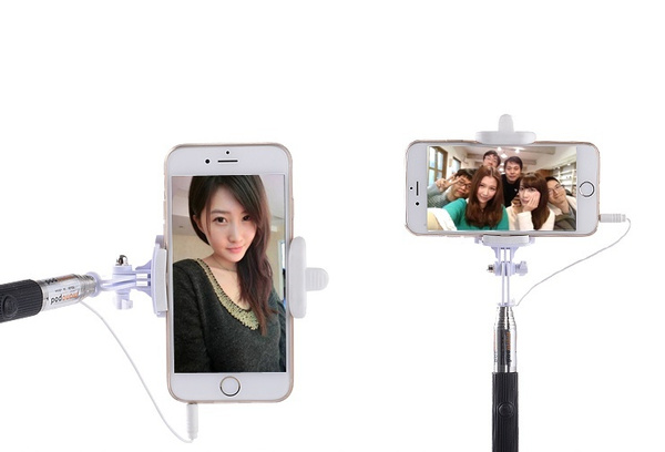 Wired Selfie Stick Handheld Monopod Built-in Shutter Extendable