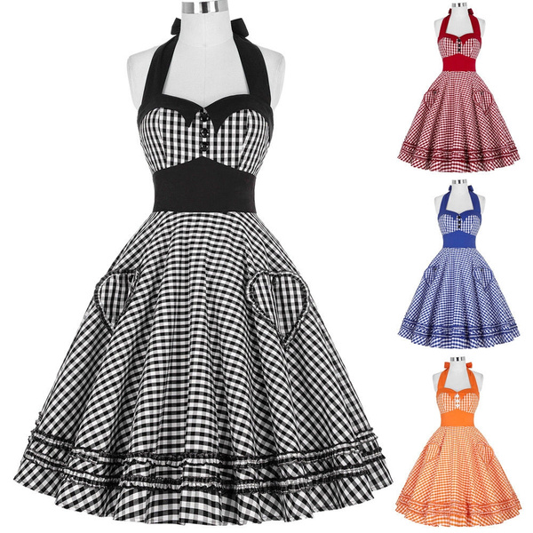 Black Friday Sale Vintage Housewife Rockabilly 50s Plaid Evening Party Prom Dresses Wish