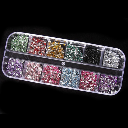 Picture of 1200pcs 2mm Round Rhinstones 12 Colors Hard Case Nail Art Tips Acrylic Uv Gel