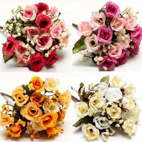 Picture of Wedding Party Home Decor Artificial Fake Silk Rose Flowers 1 Bouquet/15 Heads