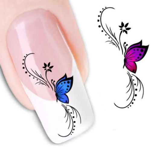 Picture of 1 Sheet Sexy Butterfly Water Transfer Nail Decals Nail Art Decoration Stickers
