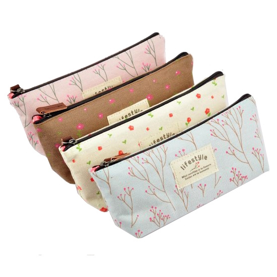 Picture of Colorful 1x Flower Foral Pattern Pencil Pen Case Cosmetic Makeup Bag