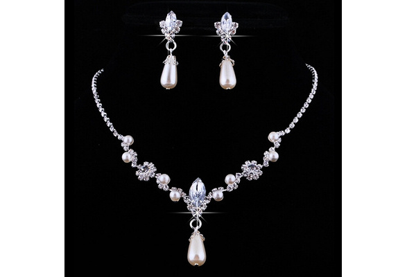 Bridal Wedding Faux Pearls Rhinestone Necklace Water Drop Earrings Jewelry Set