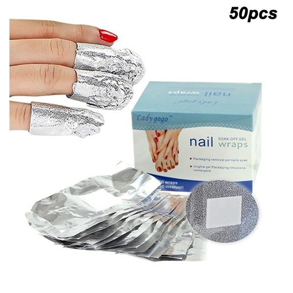 Picture of 50pcs Aluminium Foil Nail Wraps For Nail Art Soak Off Acrylic Uv Gel Remover Nail Tools Nail Polish Remover