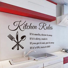 DIY Kitchen Rules Wall Quote Sticker Art Vinyl Decal Home Decor Stickers Words